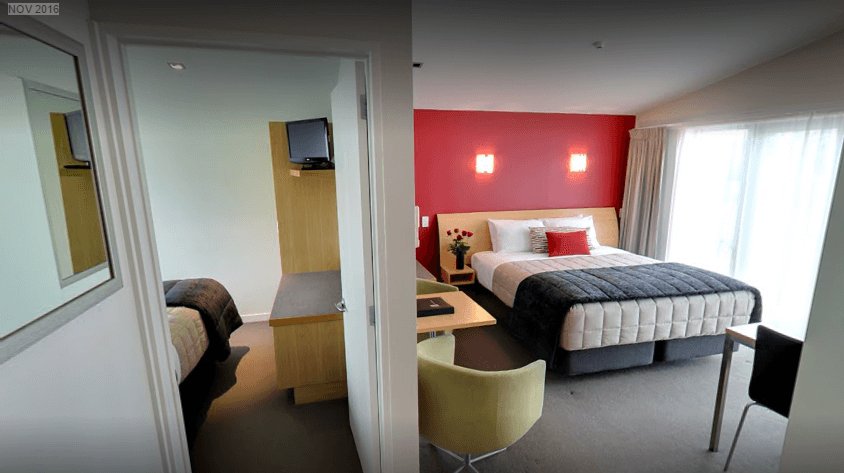 One bedroom units have a king bed in the main area and two single beds in the bedroom.